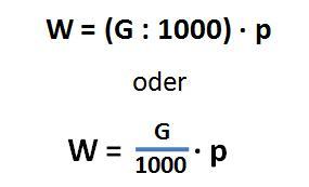 Formel zur Berechnung des Promillewertes